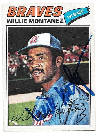 Willie Montanez Signed 1977 O-Pee-Chee Baseball Card - Atlanta Braves - PastPros