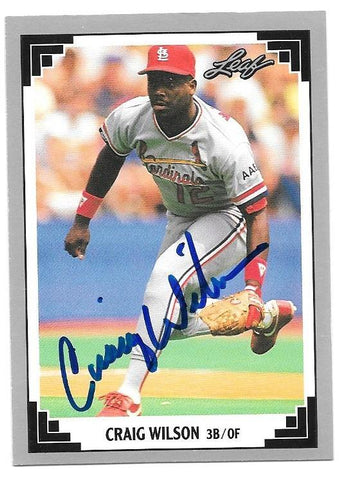 Craig Wilson Signed 1991 Leaf Baseball Card - St Louis Cardinals