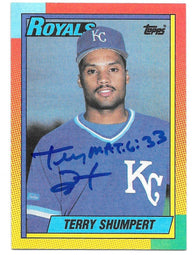 Terry Shumpert Signed 1990 Topps Baseball Card - Kansas City Royals
