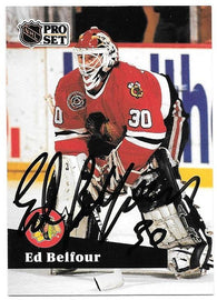 Ed Belfour Signed 1991-92 Pro Set Hockey Card - Chicago Blackhawks