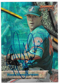 Rod Henderson Signed 1994 Bowman's Best Baseball Card - Montreal Expos
