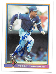 Terry Shumpert Signed 1991 Bowman Baseball Card - Kansas City Royals - PastPros