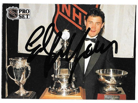 Ed Belfour Signed 1991-92 Pro Set Hockey Card - Chicago Blackhawks - Vezina Trophy