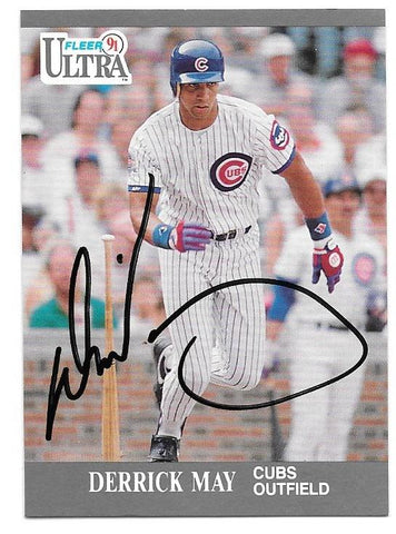 Derrick May Signed 1991 Fleer Ultra Baseball Card - Chicago Cubs - PastPros