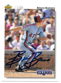 Brian Barnes Signed 1992 Upper Deck Baseball Card - Montreal Expos