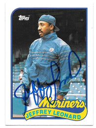 Jeff Leonard Signed 1989 Topps Baseball Card - Seattle Mariners