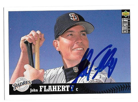 John Flaherty Signed 1996 Collector's Choice Baseball Card - San Diego Padres