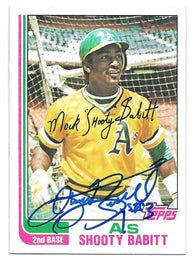 Shooty Babitt Signed 1982 Topps Baseball Card - Oakland A's