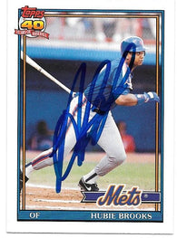 Hubie Brooks Signed 1991 Topps Baseball Card - New York Mets