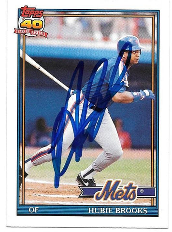 Hubie Brooks Signed 1991 Topps Baseball Card - New York Mets - PastPros