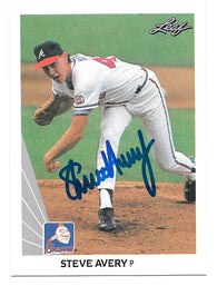 Steve Avery Signed 1990 Leaf Baseball Card - Atlanta Braves