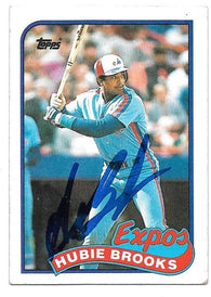 Hubie Brooks Signed 1989 Topps Baseball Card - Montreal Expos