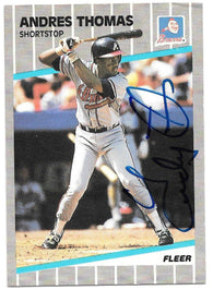 Andres Thomas Signed 1989 Fleer Baseball Card - Atlanta Braves - PastPros