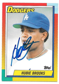 Hubie Brooks Signed 1990 Topps Baseball Card - Los Angeles Dodgers
