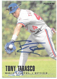 Tony Tarasco Signed 1996 Fleer Baseball Card -  Montreal Expos - PastPros