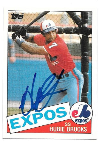 Hubie Brooks Signed 1985 Topps Baseball Card - Montreal Expos - PastPros