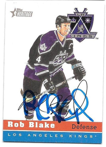 Rob Blake Signed 2000-01 Topps Heritage Hockey Card - Los Angeles Kings
