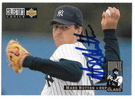 Mark Hutton Signed 1994 Collector's Choice Baseball Card - New York Yankees