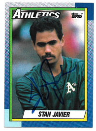 Stan Javier Signed 1989 Topps Baseball Card - Oakland A's