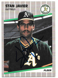 Stan Javier Signed 1989 Fleer Baseball Card - Oakland A's