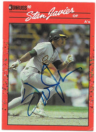 Stan Javier Signed 1990 Donruss Baseball Card - Oakland A's