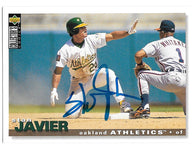 Stan Javier Signed 1995 Collector's Choice Baseball Card - Oakland A's