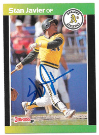 Stan Javier Signed 1989 Donruss Baseball Card - Oakland A's