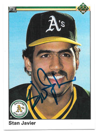Stan Javier Signed 1990 Upper Deck Baseball Card - Oakland A's