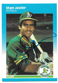 Stan Javier Signed 1987 Fleer Baseball Card - Oakland A's