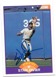Stan Javier Signed 1989 Score Baseball Card - Oakland A's