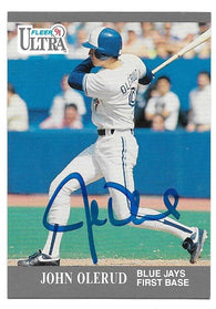 John Olerud Signed 1991 Fleer Ultra Baseball Card - Toronto Blue Jays - PastPros