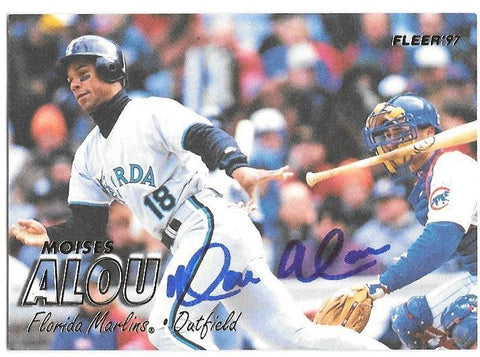 Moises Alou Signed 1997 Fleer Baseball Card - Florida Marlins