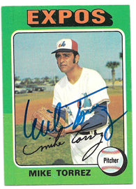 Mike Torrez Signed 1975 Topps Baseball Card - Montreal Expos