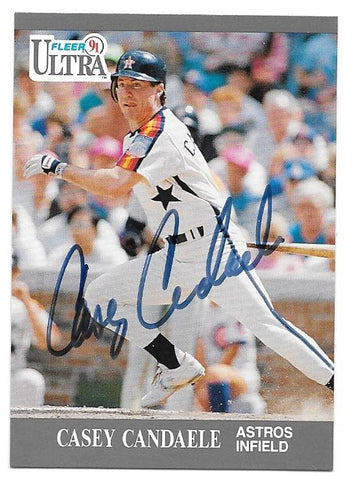Casey Candaele Signed 1991 Fleer Ultra Baseball Card - Houston Astros - PastPros