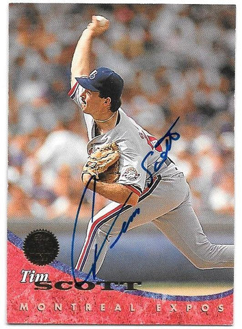 Tim Scott Signed 1994 Leaf Baseball Card - Montreal Expos