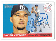 Javier Vazquez Signed 2005 Topps Heritage Baseball Card - New York Yankees