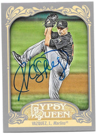 Javier Vazquez Signed 2012 Gypsy Queen Baseball Card - Miami Marlins