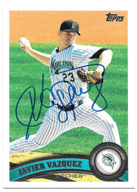 Javier Vazquez Signed 2011 Topps Baseball Card - Florida Marlins