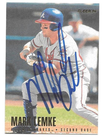 Mark Lemke Signed 1996 Fleer Baseball Card - Atlanta Braves