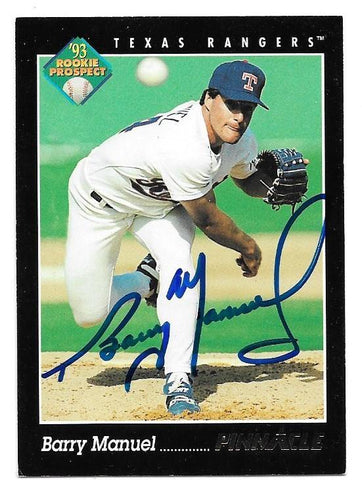 Barry Manuel Signed 1993 Pinnacle Baseball Card - Texas Rangers