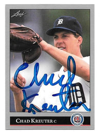 Chad Kreuter Signed 1992 Leaf Baseball Card - Detroit Tigers - PastPros