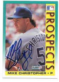 Mike Christopher Signed 1992 Fleer Baseball Card - Los Angeles Dodgers