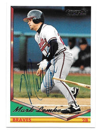 Mark Lemke Signed 1994 Topps Gold Baseball Card - Atlanta Braves