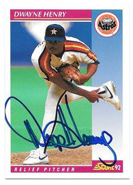 Dwayne Henry Signed 1992 Score Baseball Card - Houston Astros