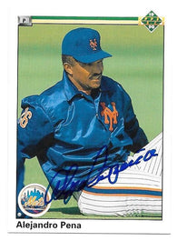 Alejandro Pena Signed 1990 Upper Deck Baseball Card - New York Mets