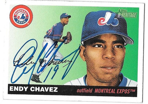 Endy Chavez Signed 2004 Topps Heritage Baseball Card - Montreal Expos