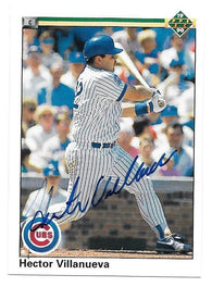 Hector Villanueva Signed 1990 Upper Deck Baseball Card - Chicago Cubs