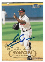 Randall Simon Signed 1998 Fleer Tradition Baseball Card - Atlanta Braves