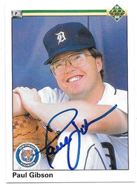 Paul Gibson Signed 1990 Upper Deck Baseball Card - Detroit Tigers