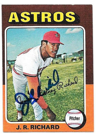 JR Richard Signed 1975 Topps Mini Baseball Card - Houston Astros - PastPros